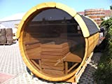 JUNIT SFF19352 Ø 1,9 m, L 3,5 m, Saunafass aus Fichte mit Panorama - Glaswand, 1m Vorraum ohne...