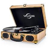 VIFLYKOO Plattenspieler, Plattenspieler Schallplattenspieler mit 3-Gang 33/45/78 U / min und...